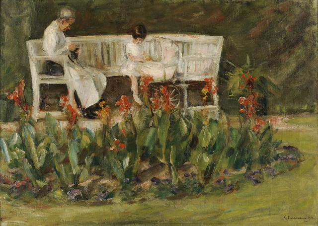 , 'Enkelin und Kinderfrau im Wannseegarten,' 1923, Ludorff