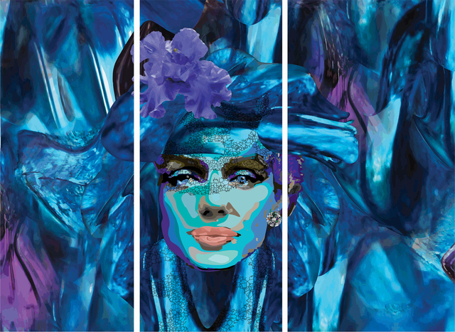, 'Blue Marilyn Triptych,' 2017, Flat Space Art