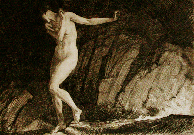 William Russell Flint, 'Eve', 1930, Print, Etching printed on  antique laid paper., Allinson Gallery, Inc