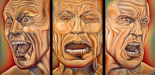, 'Three Faces of Man, from PowerPlay,' 1985, Penn State: Judy Chicago Art Education Collection