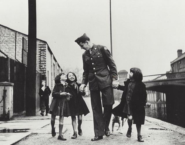 """Robert Capa, 'London, England, American soldier with war orphans """"adopted"""" by his unit', 1943, Elizabeth Houston Gallery"""