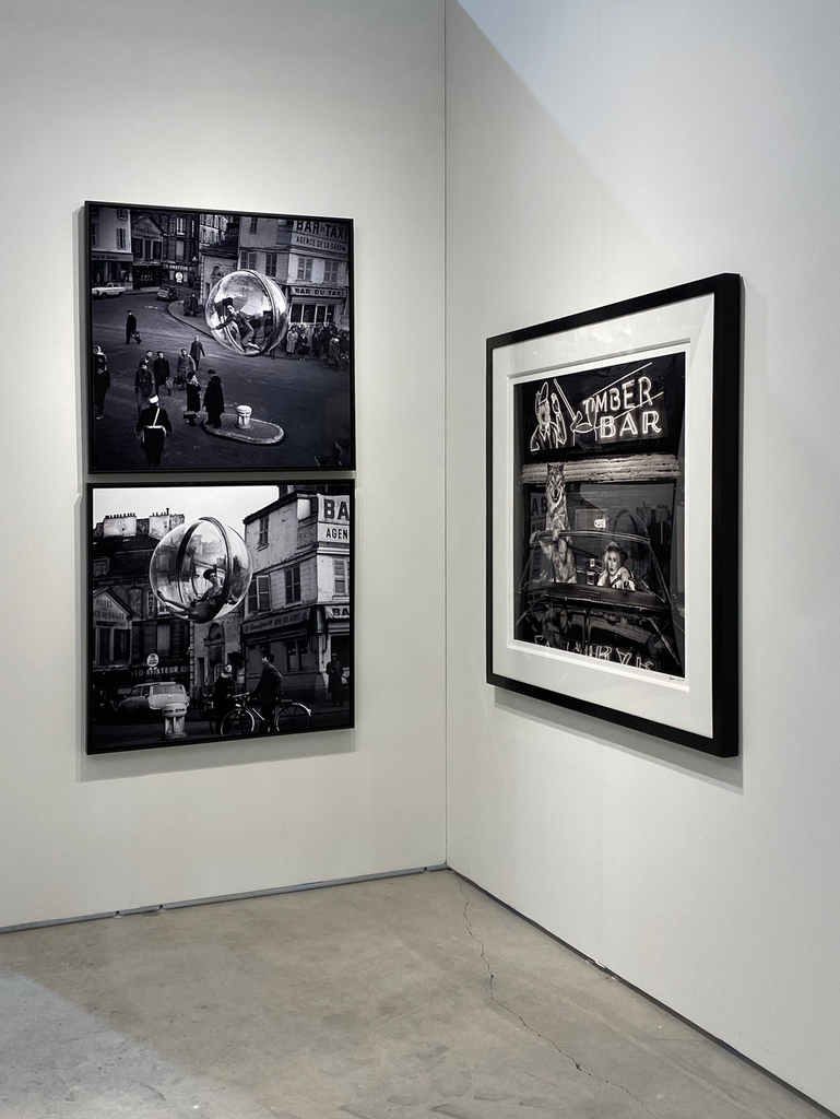 Left to right: Melvin Sokolsky, Lumiere Street, Paris, 1963; Melvin Sokolsky, Bicycle Street, Paris, 1963; David Yarrow, Coyote Ugly, 2019