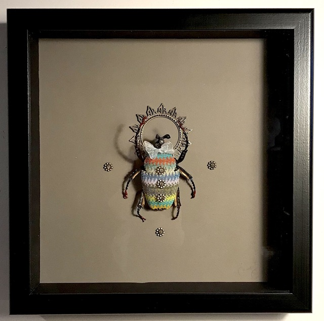 Jan Huling, 'Pagliacci', 2021, Sculpture, Beads and crystals on found object, framed, Parlor Gallery
