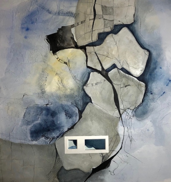 Cecilia Villanueva, 'Tectonic Plate Stabilizer, blue, gray, the earth from above, geology, impossible architecture, aerial view, environmentalist, climate change post modern art', 2019, Archway Gallery