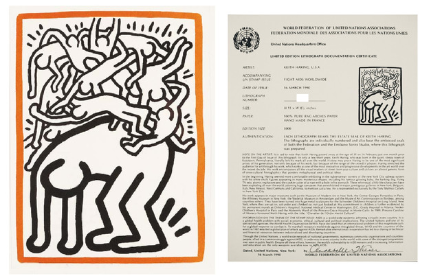 """Keith Haring, '""""Untitled"""", 1990, Lithograph, Edition of 1000, World Federation of the United Nations, Postmarked.', 1990, VINCE fine arts/ephemera"""