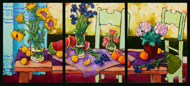 , 'Groupings of Flowers on Long Table (Triptych),' 2018, Ventana Fine Art