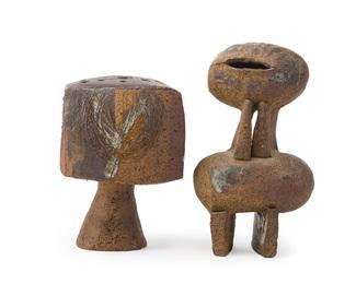 Two works: Bud vase, Stylized clay figure