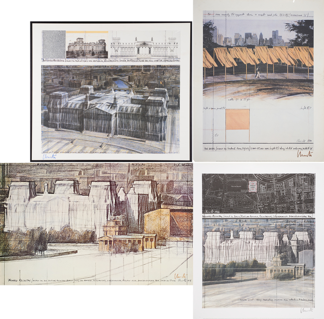 Christo, 'Wrapped Reichstag (Project for  Berlin), Wrapped Reichstag (Project for  Berlin), The Gates (Project for Central  Park, N.Y. City), Wrapped Reichstag  (Project for der Deutsche Reichstag - Berlin)', Rago