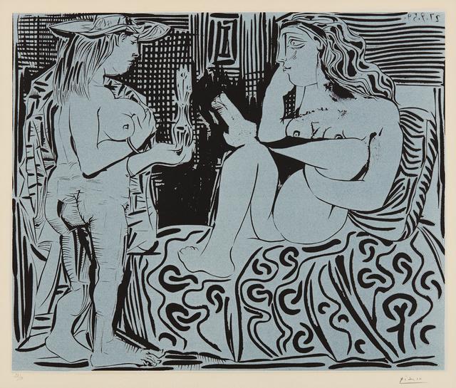 Pablo Picasso, 'Deux femmes avec un vase à fleurs (Two Women with a Vase of Flowers)', 1959, Print, Linocut in colors, on Arches paper, with full margins, Phillips