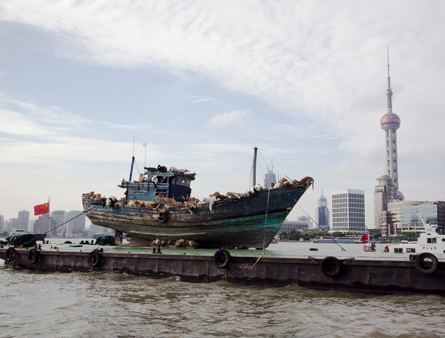 , 'The Ninth Wave sailing on the Huangpu River by the Bund, Shanghai,' 2014, Cai Studio