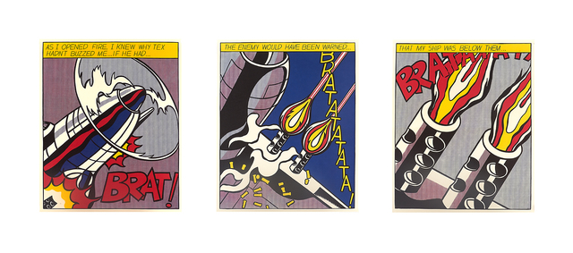 Roy Lichtenstein, 'As I Opened Fire Triptych', 2000, Print, Three offset lithographs in colors, Rago/Wright