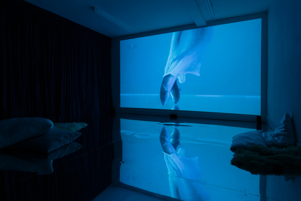 Zoe Williams,Sunday Fantasy, 2019, installationview, filmco-directed byAmy Gwatkin,courtesy of theartist and Antoine Levi gallery, Paris. Commissioned byMimosaHouse and supported byArtsCouncil England. Photo:TimBowditch