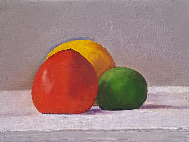 Dan McCleary, 'Still Life with Lime, Persimmon, and Lemon', 2017, Craig Krull Gallery