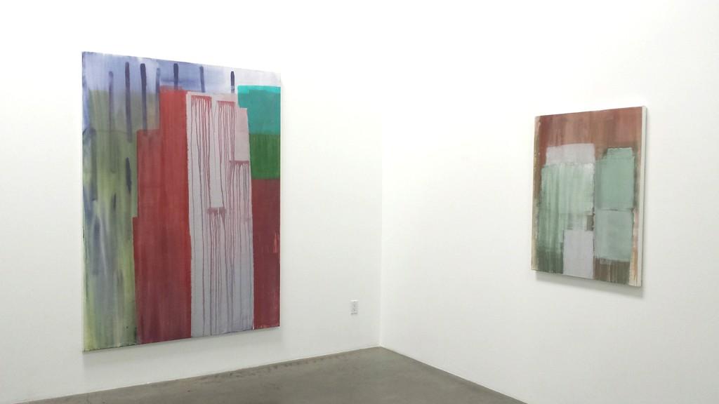 "Tony Beauvy, ""New Paintings"" Installation Left: ""Untitled LVII,"" 2015, Acrylic on canvas, 84"" x 60"" Right: ""Untitled LX,"" 2014, Acrylic on canvas, 40"" x 30"""