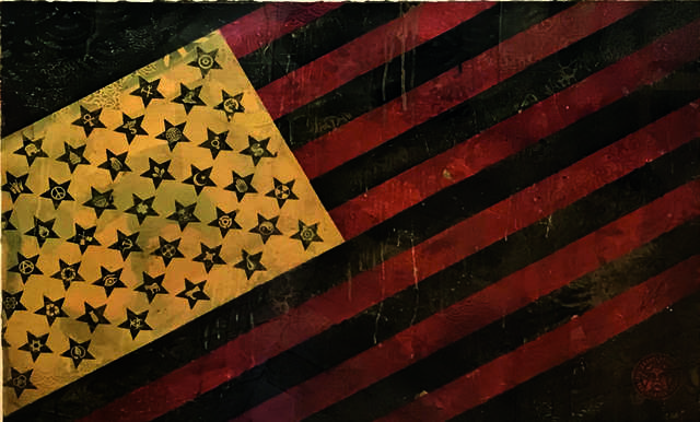 Shepard Fairey, 'Flag 4', 2010, Drawing, Collage or other Work on Paper, Mixed media and collage on paper, DIGARD AUCTION