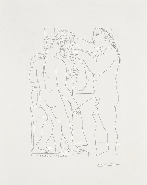 Pablo Picasso, 'Jeune sculpteur Grec avec sa sculpture: un homme et un Éphèbe (Young Greek Sculptor with his Sculpture: A Man and an Ephebe), plate 52 from La Suite Vollard', 1933, Phillips