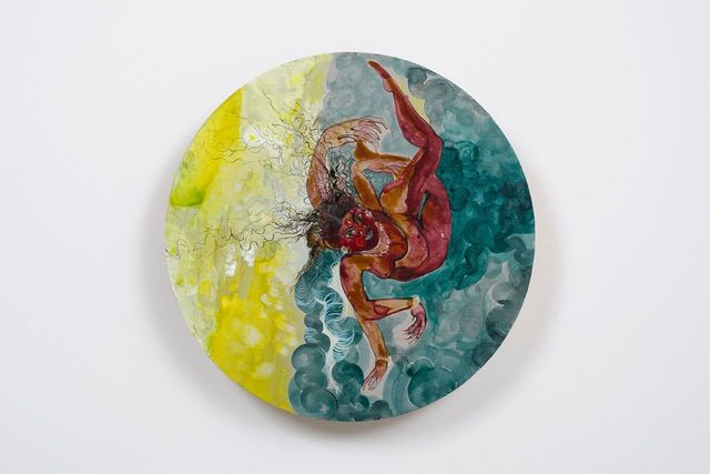 Rina Banerjee, 'Severed suddenly from land she swam, ran for freedom', 2014, Painting, Ink and acrylic on wood panel, L.A. Louver