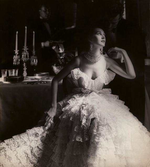 , 'In This Year of Lace, Dovima, dress by Jane Derby, The Plaza Hotel, New York, Harper's Bazaar,' 1951, Edwynn Houk Gallery