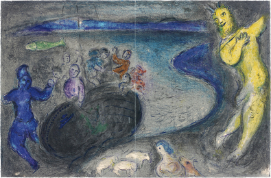 Marc Chagall, 'Le Songe du Capitaine Bryaxis (Captain Bryaxis' Dream), pl. 21 from Daphnis et Chloé,' 1961, Phillips: Evening and Day Editions