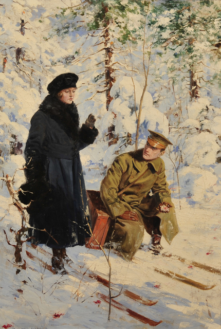 Anton Otto Fischer, 'Woman and Soldier on Skis', 1920-1929, The Illustrated Gallery