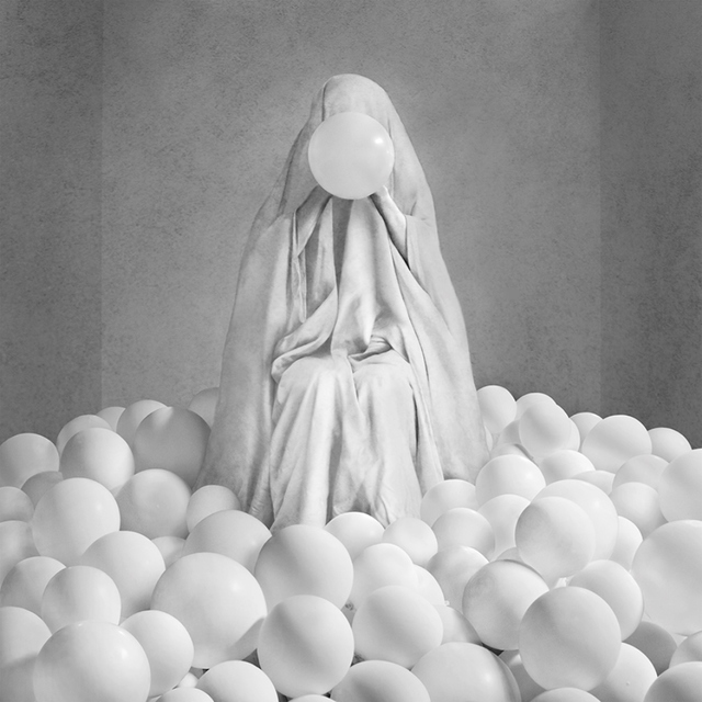 , 'Sheeted Figure with Balloons in Room,' 2015, JAYJAY