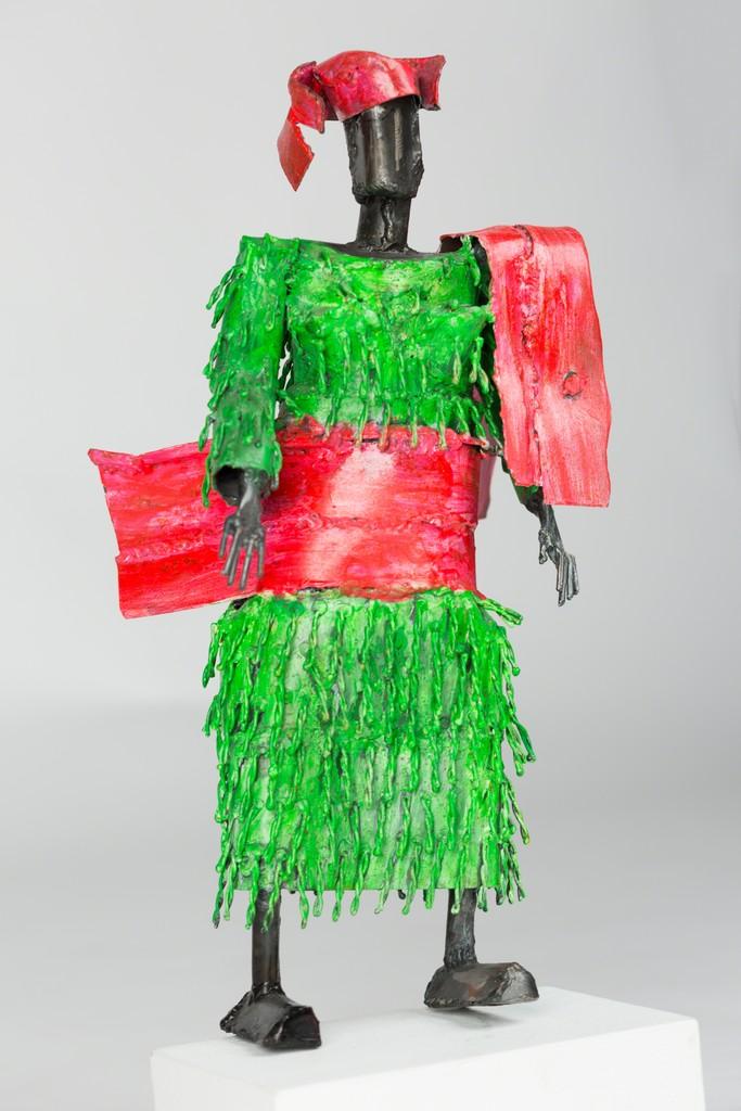 Yoruba Lady, Green Tassels, Pink Shawl