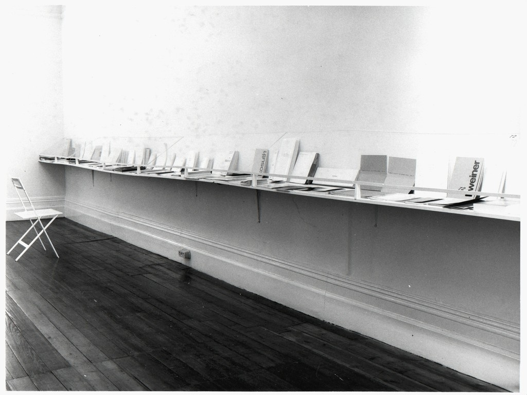 Installation photo from Book As Artwork, Nigel Greenwood Inc Ltd, September 1972. Photograph courtesy of © The Nigel Greenwood Gallery Archive, Tate Archive, London.