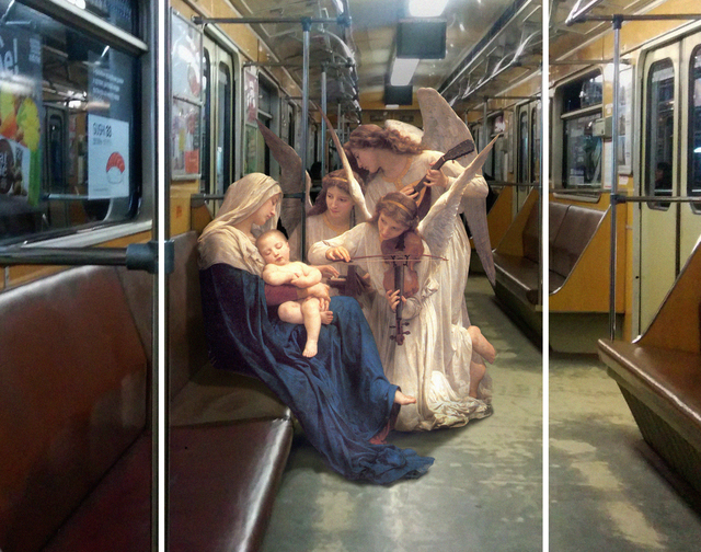 , 'Triptych: William Adolphe Bouguereau «Song of the angels». Teremki metro station,' 2015, Port agency