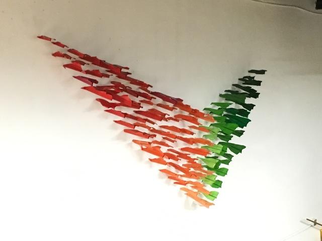 , 'Paper Plane installation orange and green,' 2016, Galleria Ca' d'Oro
