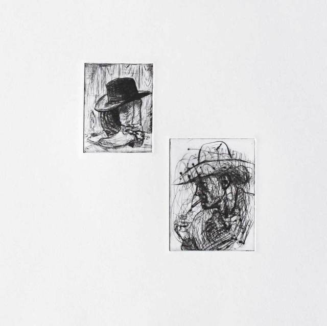 , 'Etching of Cowboy,' 2016, The Biscuit Factory
