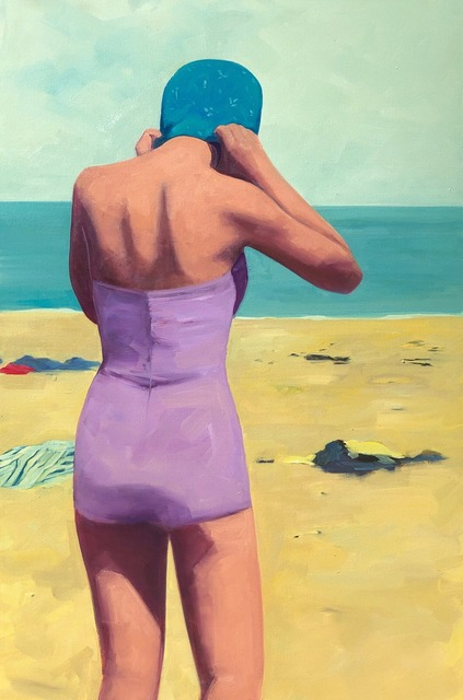 , '''Beach Swim'' oil painting of a woman at the beach in a purple swimsuit and blue cap,' 2019, Eisenhauer Gallery