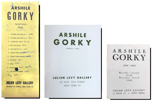 "Arshile Gorky, 'SET of 3 ANNOUNCEMENTS/ INVITATIONS- ""Arshile Gorky"", 1945/46/48, Julien Levy Gallery NYC', 1945, 1946, 1948, VINCE fine arts/ephemera"