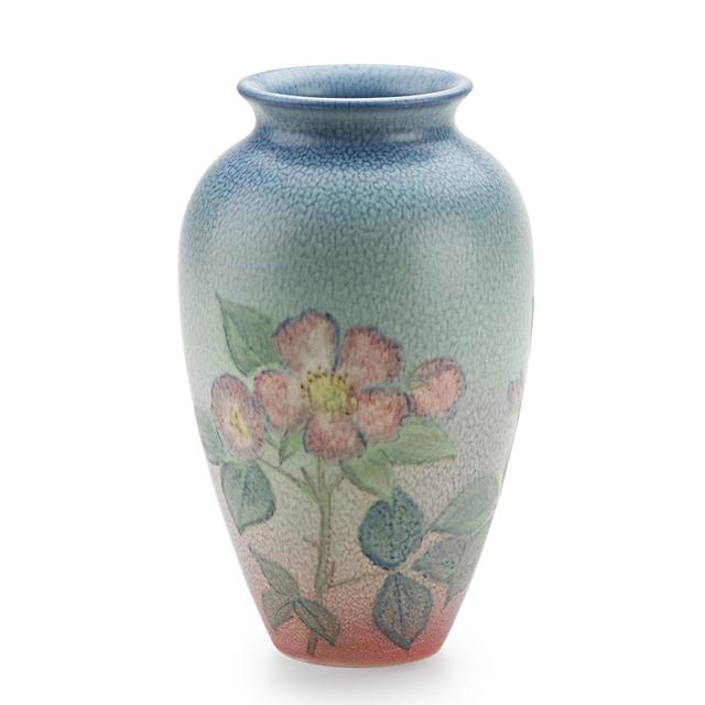 Kataro Shirayamadani, 'Double Vellum Vase With Roses (Uncrazed), Cincinnati, OH', 1938, Design/Decorative Art, Rago/Wright
