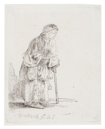 A Beggar Woman Leaning on a Stick