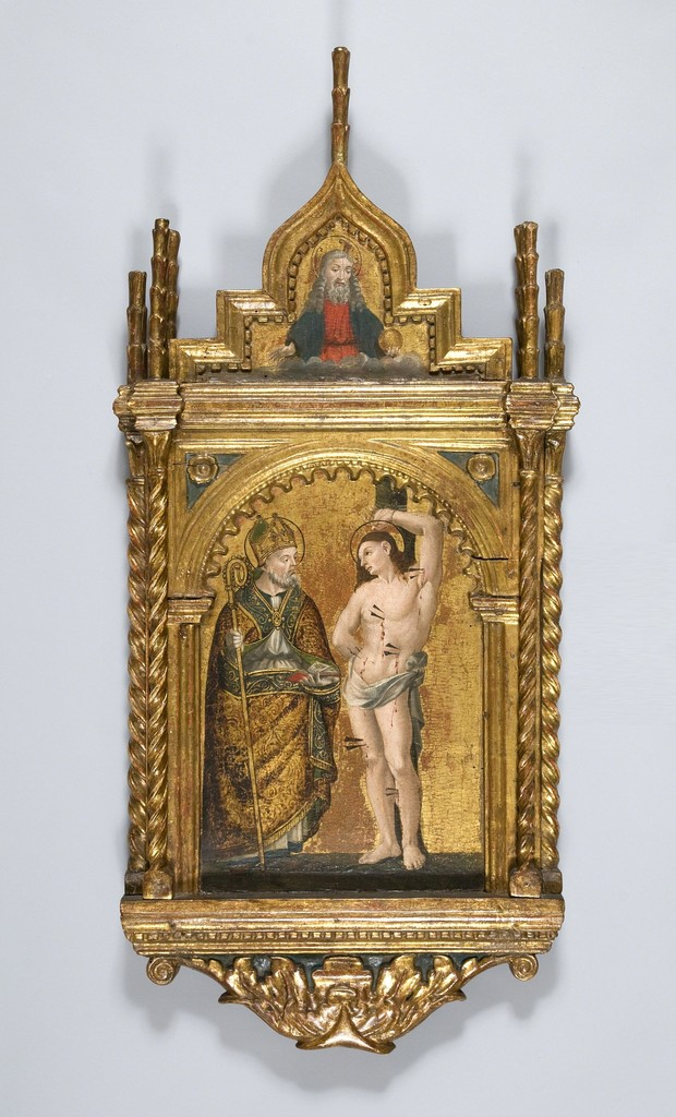 Intallation view of gilt altarpiece depicting Saint Sebastian. 15th century, 95 x 45 x 8 cm. Private collection.