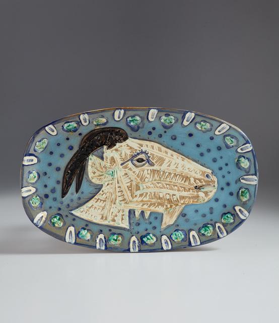 Pablo Picasso, 'Goat's head in profile (Tête de chèvre de profil)', 1952, Design/Decorative Art, White earthenware oblong dish, painted in colors with engobes and partial brushed glaze., Phillips