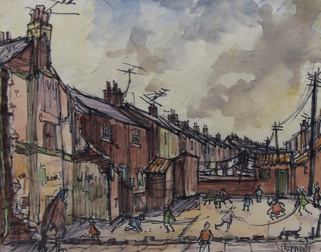 , 'Street scene with children playing,' , Castlegate House Gallery
