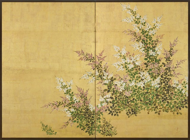 , 'A two-fold screen painted in ink and colour on a gold ground depicting bush clover,' 18th century-Edo period, Gregg Baker Asian Art