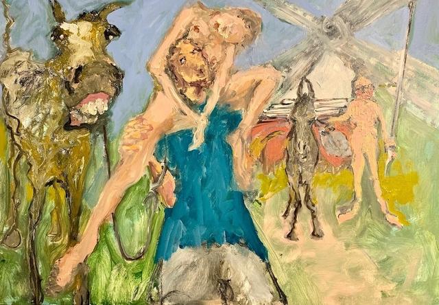 Eva Beresin, 'Don Quijote de la Mancha and Sancho Panza and of course Dulcinea', 2020, Painting, Oil on canvas, Charim Galerie