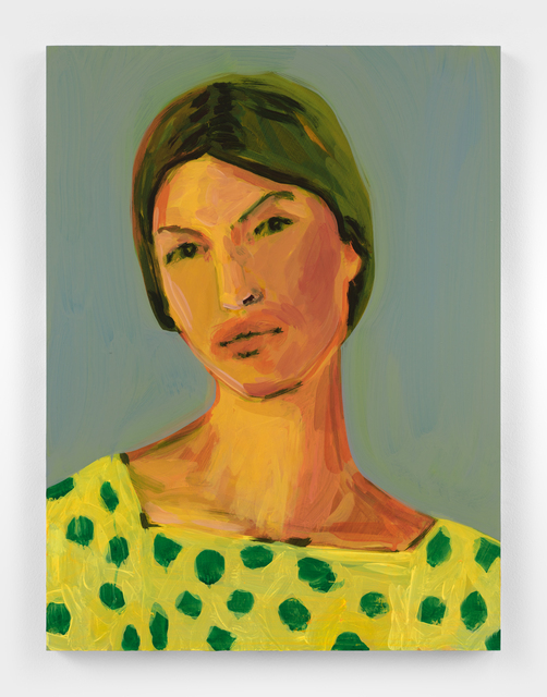 Claire Tabouret, 'Makeup (green dots)', 2021, Painting, Acrylic on canvas, Almine Rech