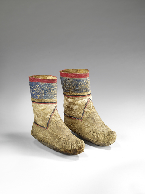 , 'Paris of womens boots decorated with scrolls and spirals,' Late 19th century, Musée du quai Branly