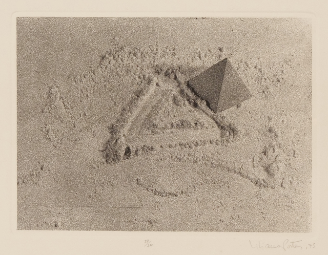 Liliana Porter, 'Untitled (with triangle)', 1975, Drawing, Collage or other Work on Paper, Photo etching and collage on paper, Hosfelt Gallery