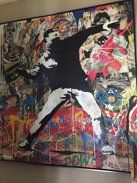 """Mr. Brainwash, '""""Bansky Thrower""""', 2014, Painting, Stencil, paper, spray-paint and acrylic on wood, Parlor Gallery"""