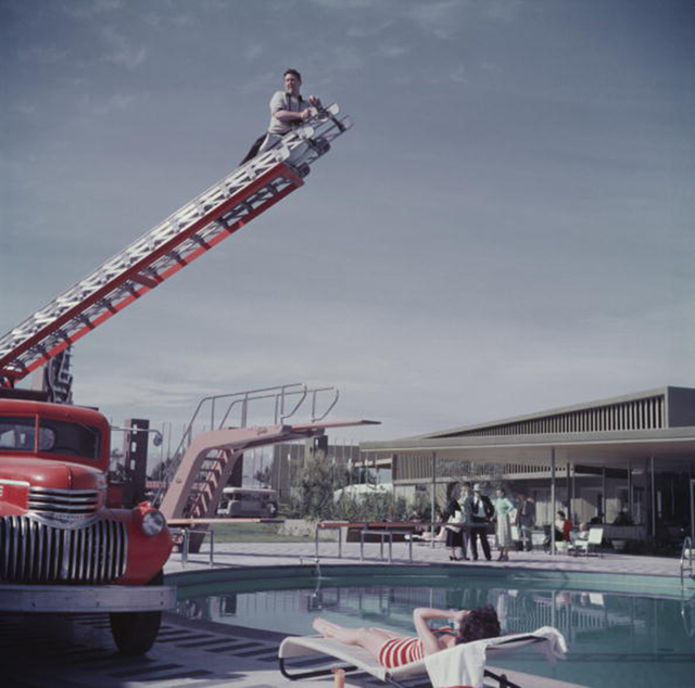 , 'To Any Lengths, 1954: Slim Aarons photographing Mara Lane from the top of an extending ladder by the swimming pool a Sands Hotel, Las Vegas,' 1954, Staley-Wise Gallery