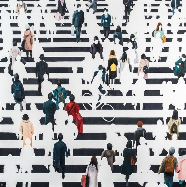 "Martta García Ramo, '""Elementos Discordantes"" oil painting of pedestrians walking in black and white crosswalk', 2019, Eisenhauer Gallery"