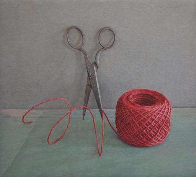 Lucy Mackenzie, 'Scissors and Red String', 2012, Painting, Oil on board, Nancy Hoffman Gallery