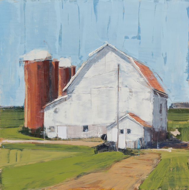 , 'Silos and Barn,' 2018, Abend Gallery