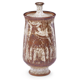 Fine large lidded vessel with animals, USA