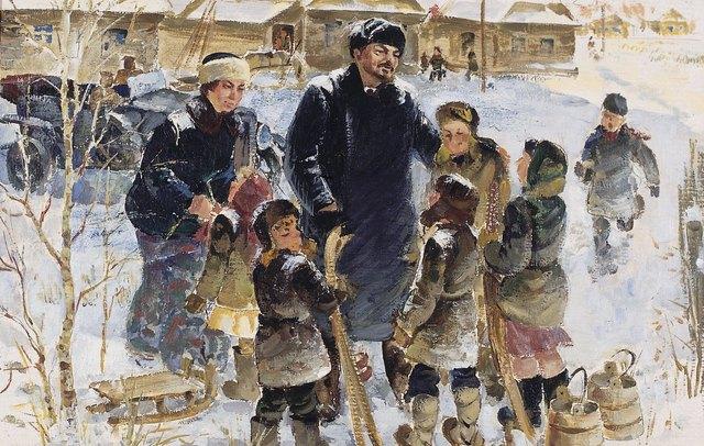 Viktor Petrovich Patrin, 'Lenin and Krupskaya with the children', 1984, Surikov Foundation