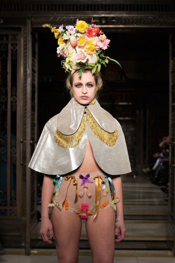 The Vulgar: Fashion Redefined, Pam Hogg, Cape, shorts and headdress, 'Diamond Dogs and Demons' Collection, Autumn/Winter 2015–2016, Ready-to-wear, Image by kind permission of SimonArmstrong.com